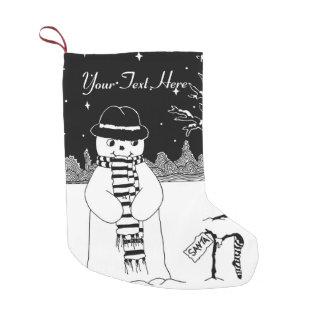 スカーフおよび帽子の白黒芸術の雪だるま スモールクリスマスストッキング
