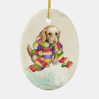 スカーフのオーナメントの子犬 セラミックオーナメント