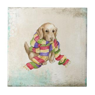 スカーフを持つかわいい国内犬犬 タイル