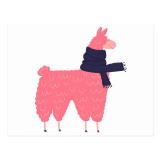 スカーフを身に着けているピンクのラマ ポストカード