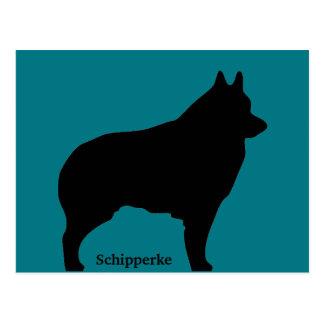 スキッパーキ犬のシルエット ポストカード