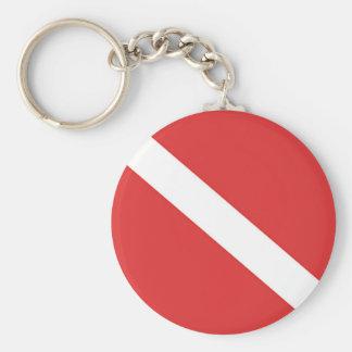 スキューバダイビングのロゴのダイバーの赤い白旗 キーホルダー