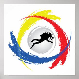 スキューバダイビングの三色の紋章 ポスター