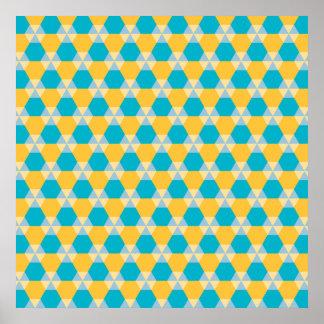 スキューバ青および黄色の三角形ジンクスポスター ポスター