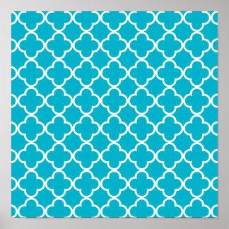 スキューバ青く白いクローバーのモトッコ人パターン ポスター