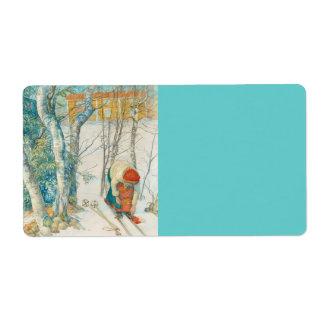 スキーに置いている女性- Skidloperskan ラベル