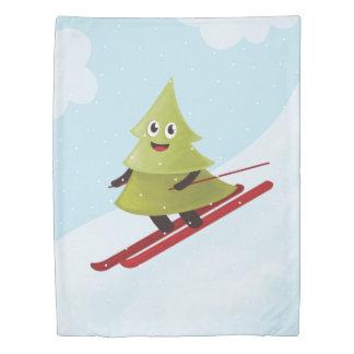 スキーの幸せな松の木の冬 掛け布団カバー