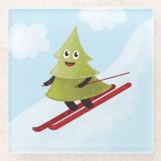 スキーの幸せな松の木 ガラスコースター