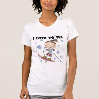 スキーへの愛-女の子のTシャツおよびギフト Tシャツ