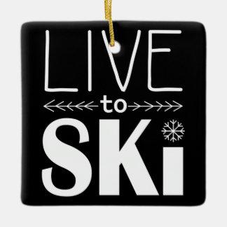 スキーをするためにオーナメント住んで下さい セラミックオーナメント