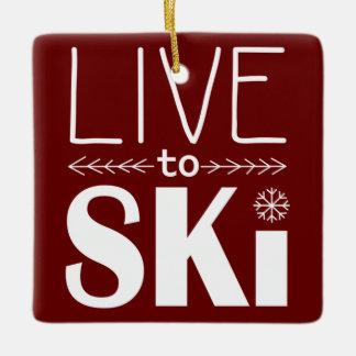 スキーをするためにオーナメント-あずき色住んで下さい セラミックオーナメント