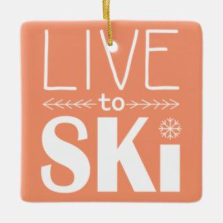スキーをするためにオーナメント-オレンジ住んで下さい セラミックオーナメント