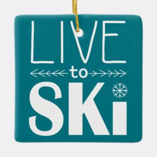 スキーをするためにオーナメント-ティール(緑がかった色)住んで下さい セラミックオーナメント