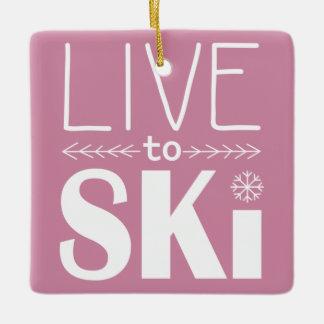 スキーをするためにオーナメント-ピンク住んで下さい セラミックオーナメント