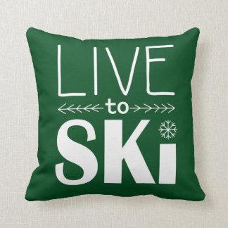 スキーをするために枕-深緑色住んで下さい クッション