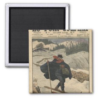 スキーを使用している高山の郵便集配人 マグネット