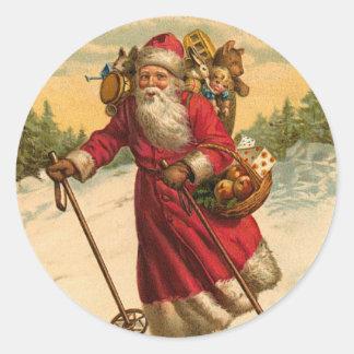スキーサンタのクリスマスのステッカー ラウンドシール