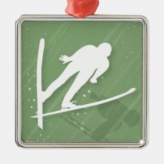 スキージャンプ2人 メタルオーナメント