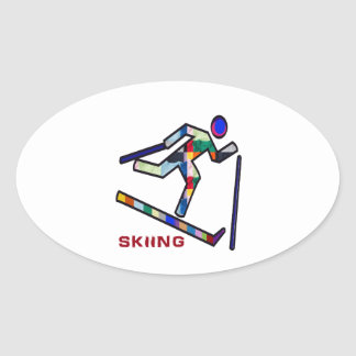 スキースポーツ競争 楕円形シール