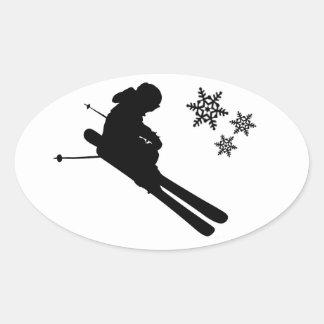 スキーヤーの寸断 楕円形シール