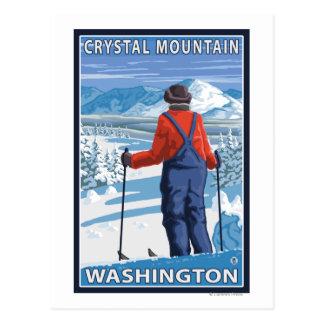 スキーヤーの賞賛-水晶山、ワシントン州 ポストカード