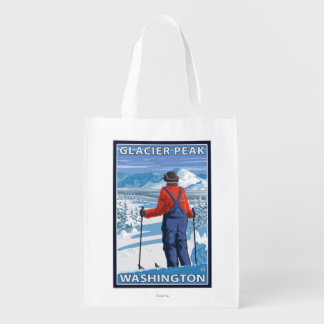 スキーヤーの賞賛-氷河ピーク、ワシントン州 エコバッグ