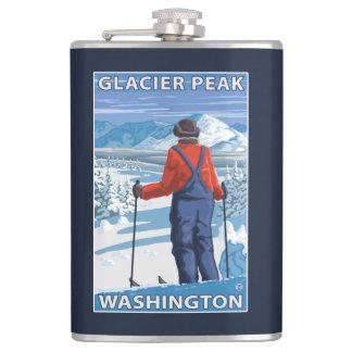 スキーヤーの賞賛-氷河ピーク、ワシントン州 フラスク