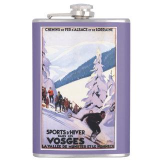 スキーヤーポスターを見ている見物人 フラスク