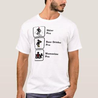 スキーヤー、ビール好き、女たらし Tシャツ