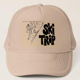 スキー旅行の漫画が付いている野球帽 キャップ