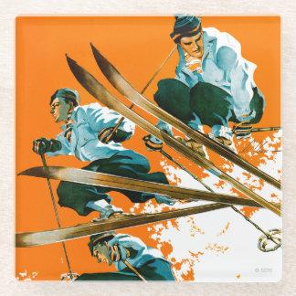 スキー溶接によるスキージャンパー ガラスコースター