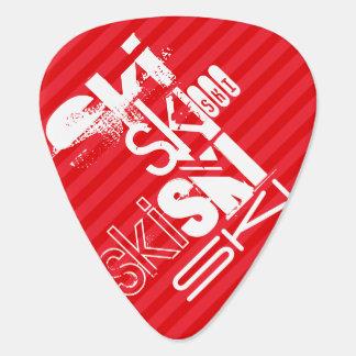 スキー; 深紅の赤のストライプ ギターピック