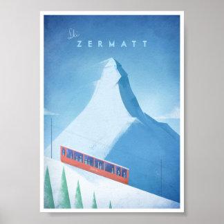 スキーZermattのヴィンテージ旅行ポスター ポスター