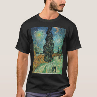 スギおよび星のvincが付いているフィンセント・ファン・ゴッホの道 tシャツ