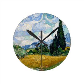 スギ柱時計が付いている小麦畑 ラウンド壁時計
