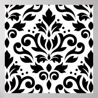 スクロールダマスク織の白の大きいデザインの黒 ポスター