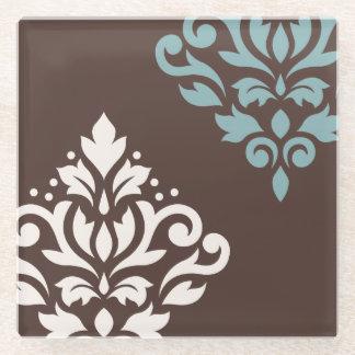 スクロールダマスク織の芸術Iのクリーム色のティール(緑がかった色)ブラウン ガラスコースター
