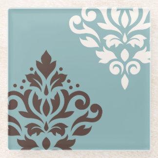 スクロールダマスク織の芸術Iブラウンのクリーム色のティール(緑がかった色) ガラスコースター