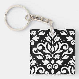 スクロールダマスク織の黒の大きいデザインの白 キーホルダー