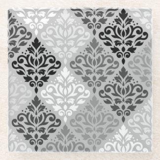 スクロールダマスク織のPtnの芸術BW及び灰色 ガラスコースター