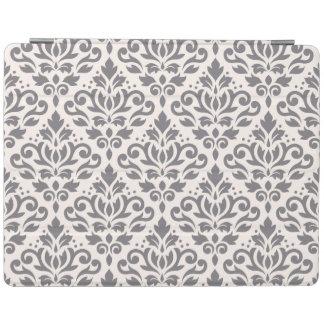 スクロールダマスク織クリームの大きいパターン灰色 iPadスマートカバー