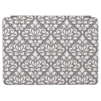 スクロールダマスク織灰色の大きいパターンクリーム iPad AIR カバー