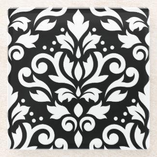 スクロールダマスク織黒の大きいパターン白 ガラスコースター