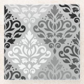 スクロールダマスク織Lg Ptnの芸術BW及び灰色 ガラスコースター