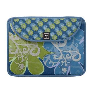 スクロールn花(青い海軍か緑) MacBook proスリーブ