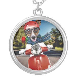 スクーター犬、ジャッキラッセル シルバープレートネックレス