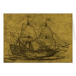 スクーナー船およびヴィンテージの地図 カード