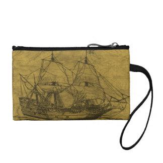 スクーナー船およびヴィンテージの地図 コインパース