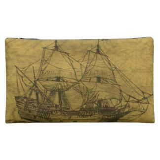 スクーナー船およびヴィンテージの地図 コスメティックバッグ