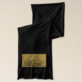 スクーナー船およびヴィンテージの地図 スカーフ